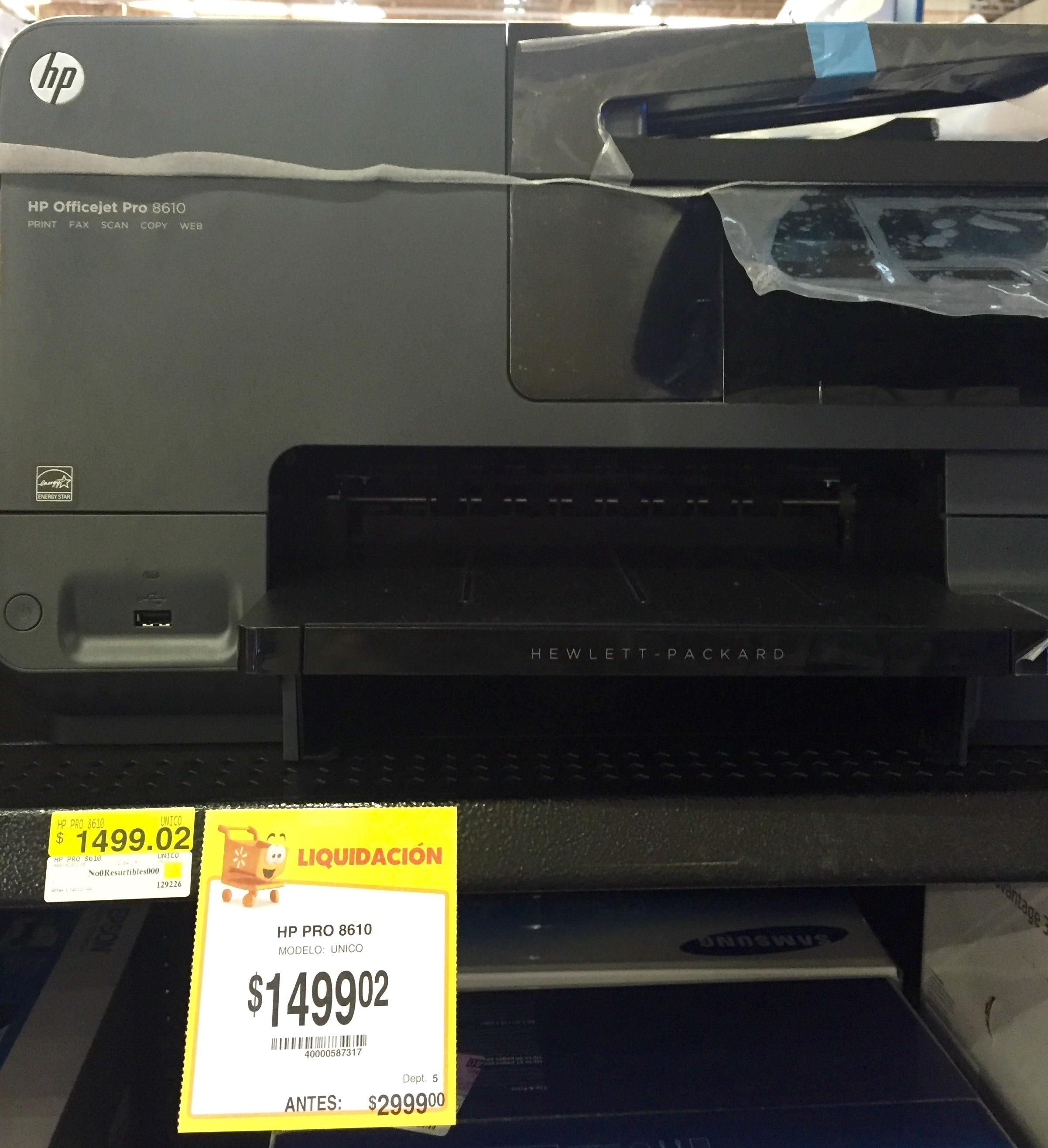 Walmart: Impresora Officejet pro 8610 compatible tinta continúa y cartuchos rellenables