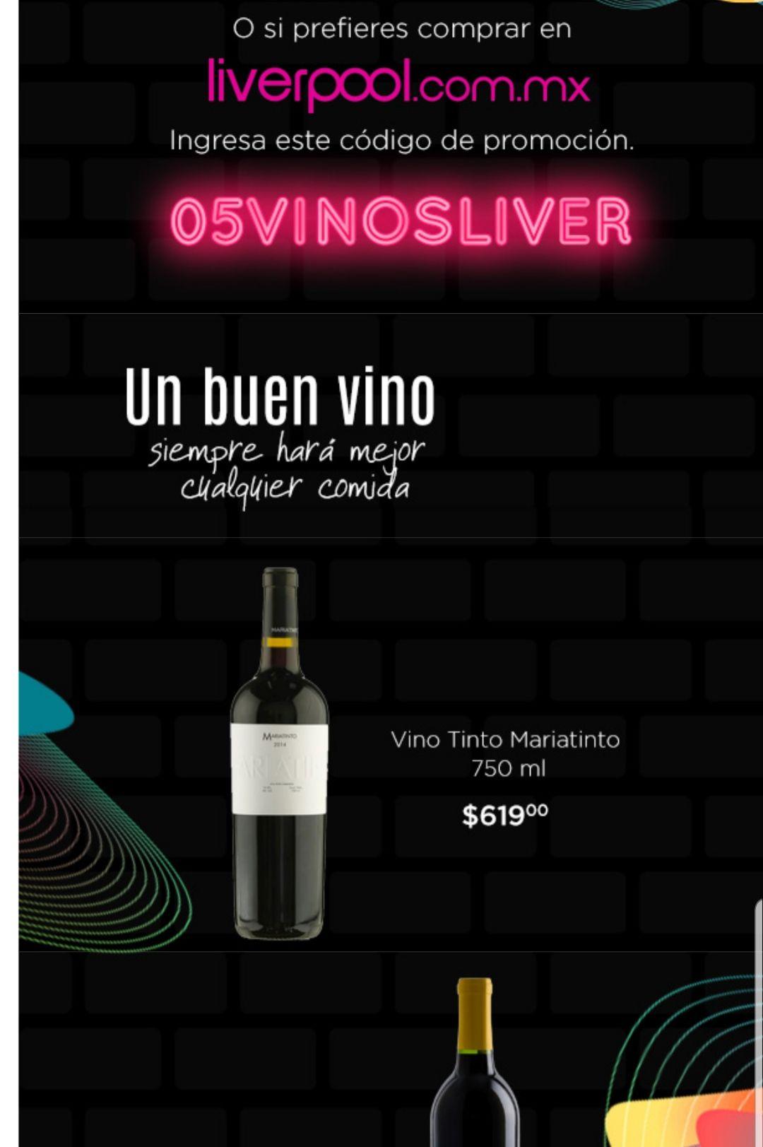 Liverpool en línea: Cupón de 15% de descuento en vinos