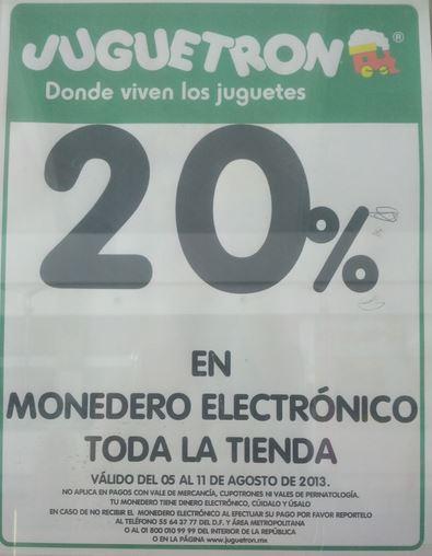 Juguetron: 20% en monedero en toda la tienda