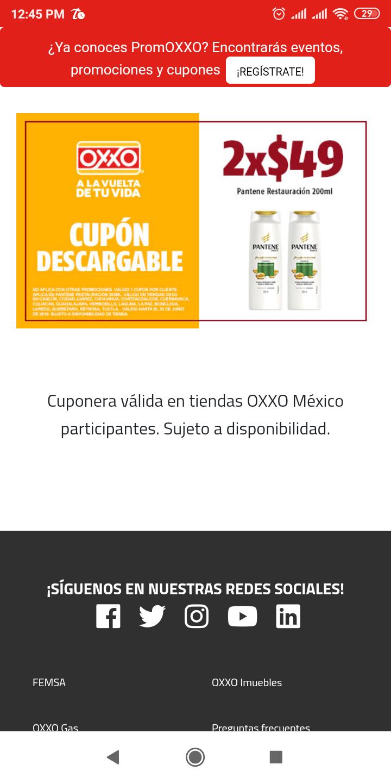 Oxxo: Cupón para 2 Pantene restauración 200 ml x $50