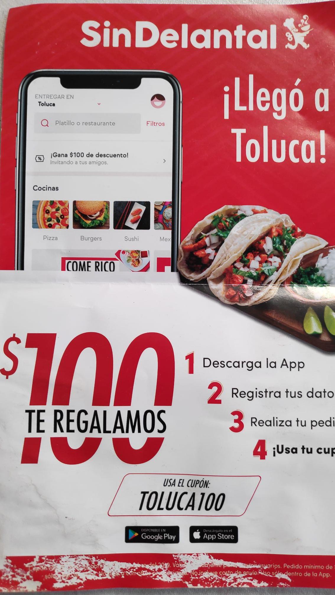 SinDelantal Toluca: cupón de $100