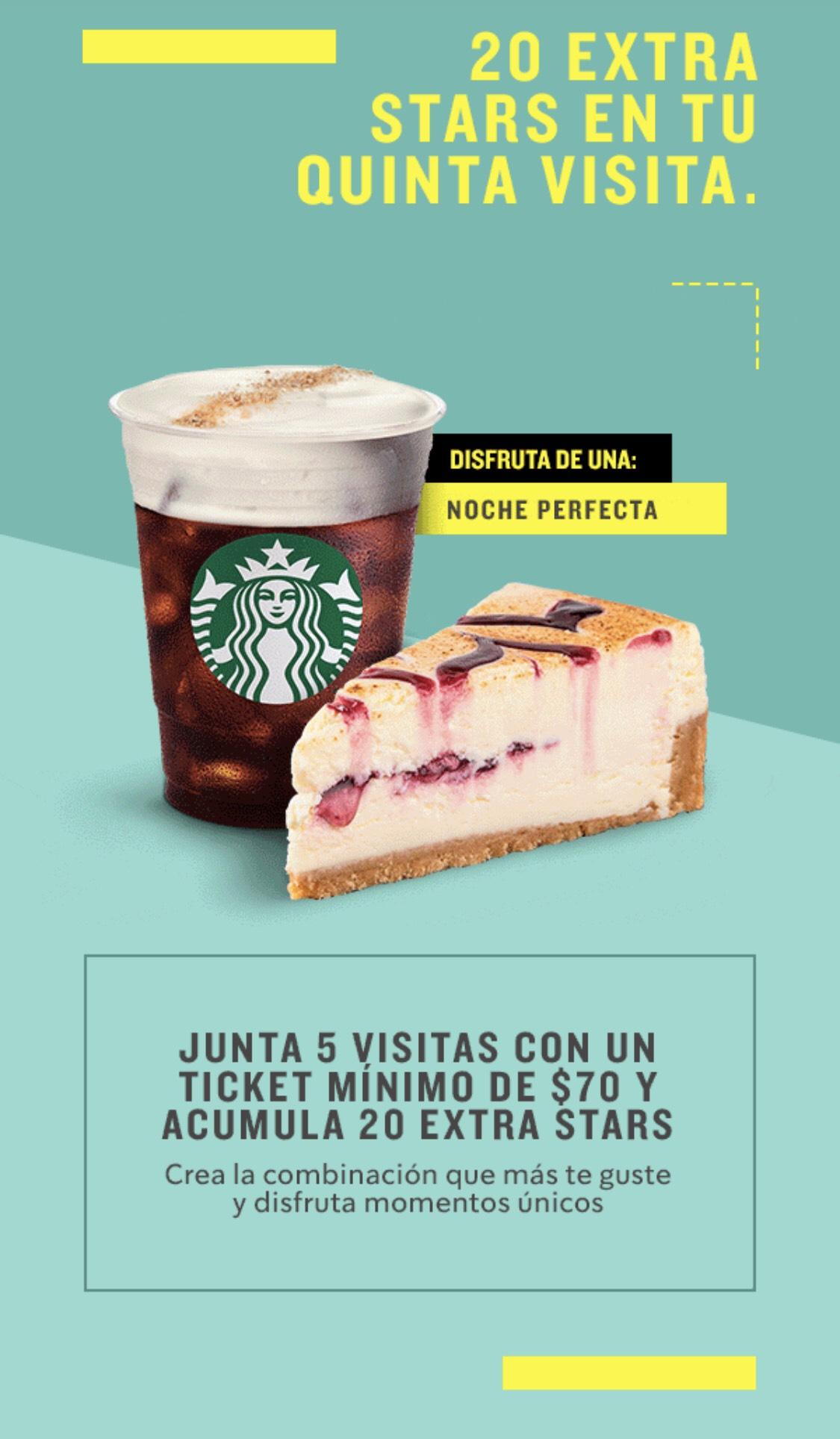 Starbucks: 20 Stars extra en tu quinta visita