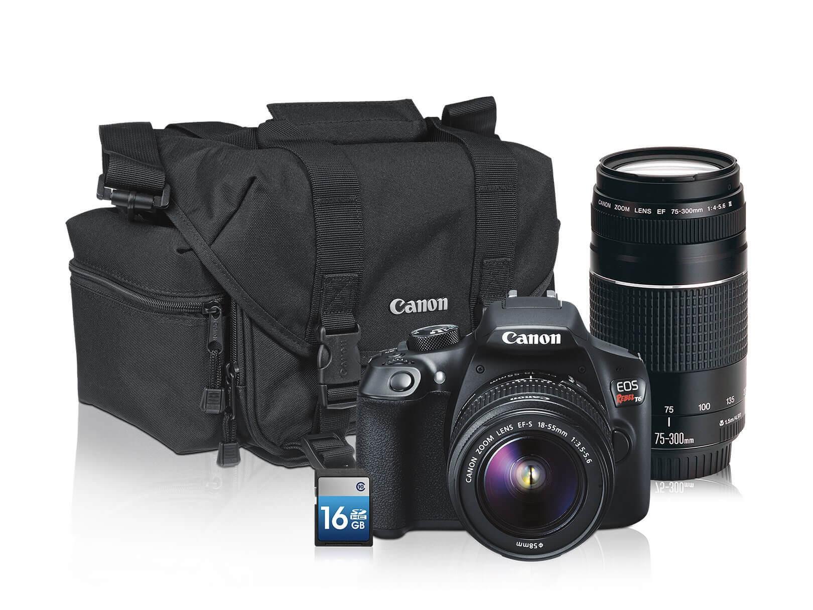Best Buy: Canon Kit Cámara DSLR T6 con Lente 18-55mm más 75-300mm   Estuche   16GB – Negro