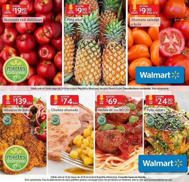 Walmart: Martes de Frescura 14 Mayo: Jitomate Saladet ó Bola $9.90 kg... Piña $9.90 kg... Manzana Red $19.90 kg... Pollo Entero $24.90 kg.