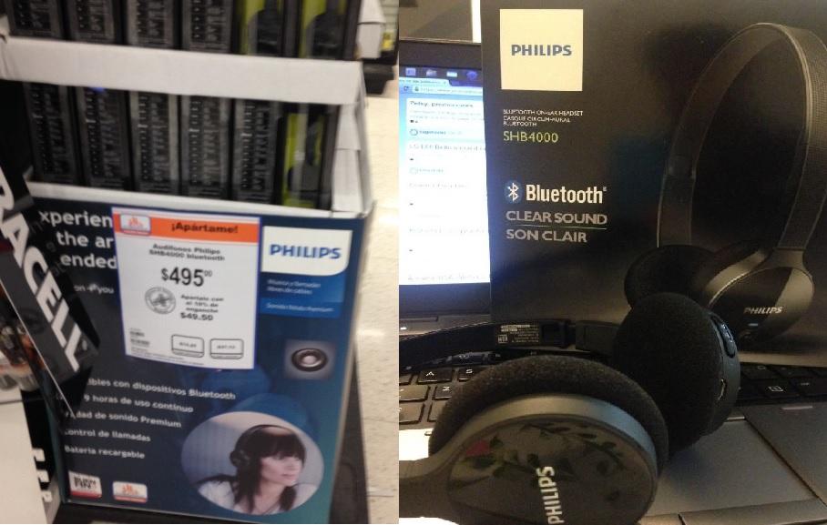 Chedraui suc. Neza: audífonos bluetooth Philips a $495