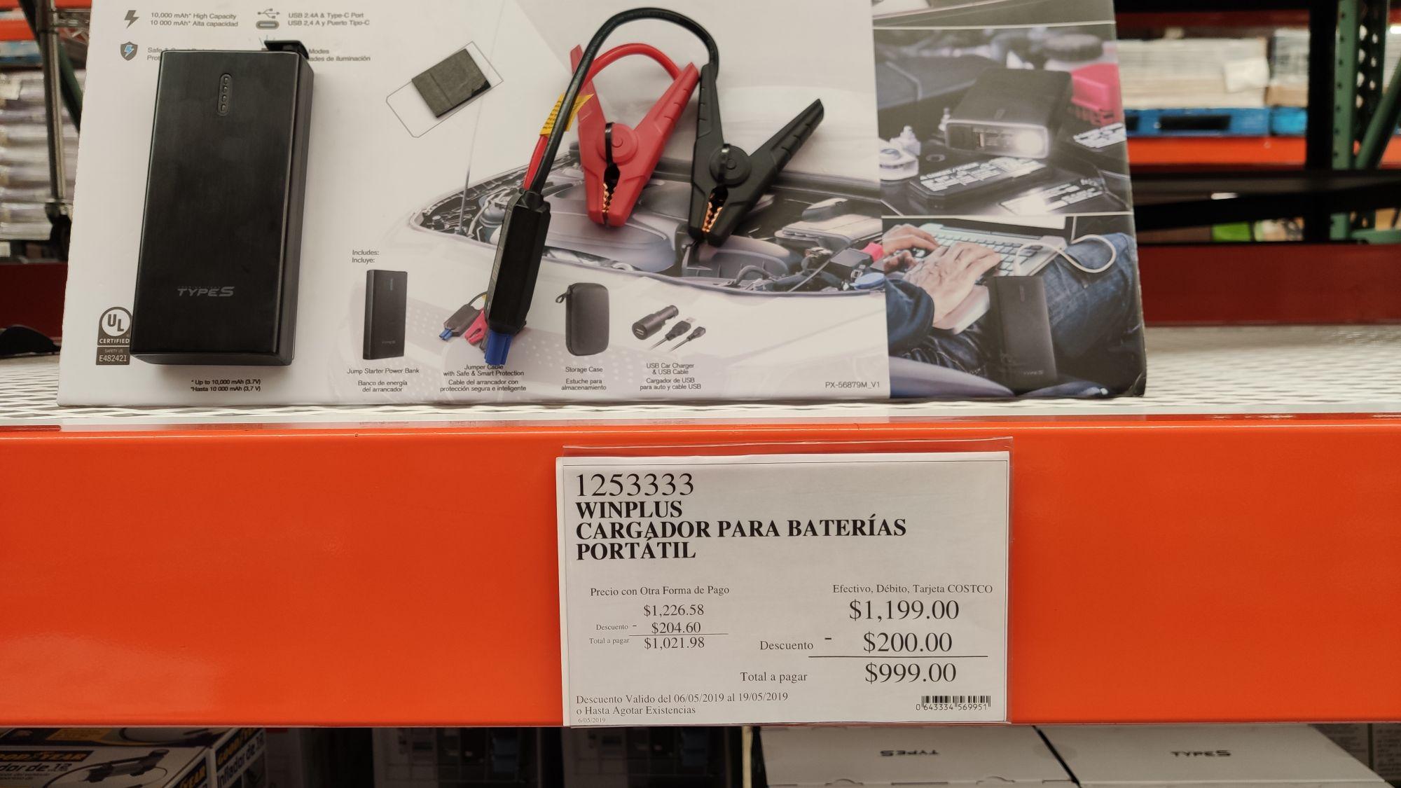 Costco Mixcoac: Cargador de baterías portátil (arranca autos)