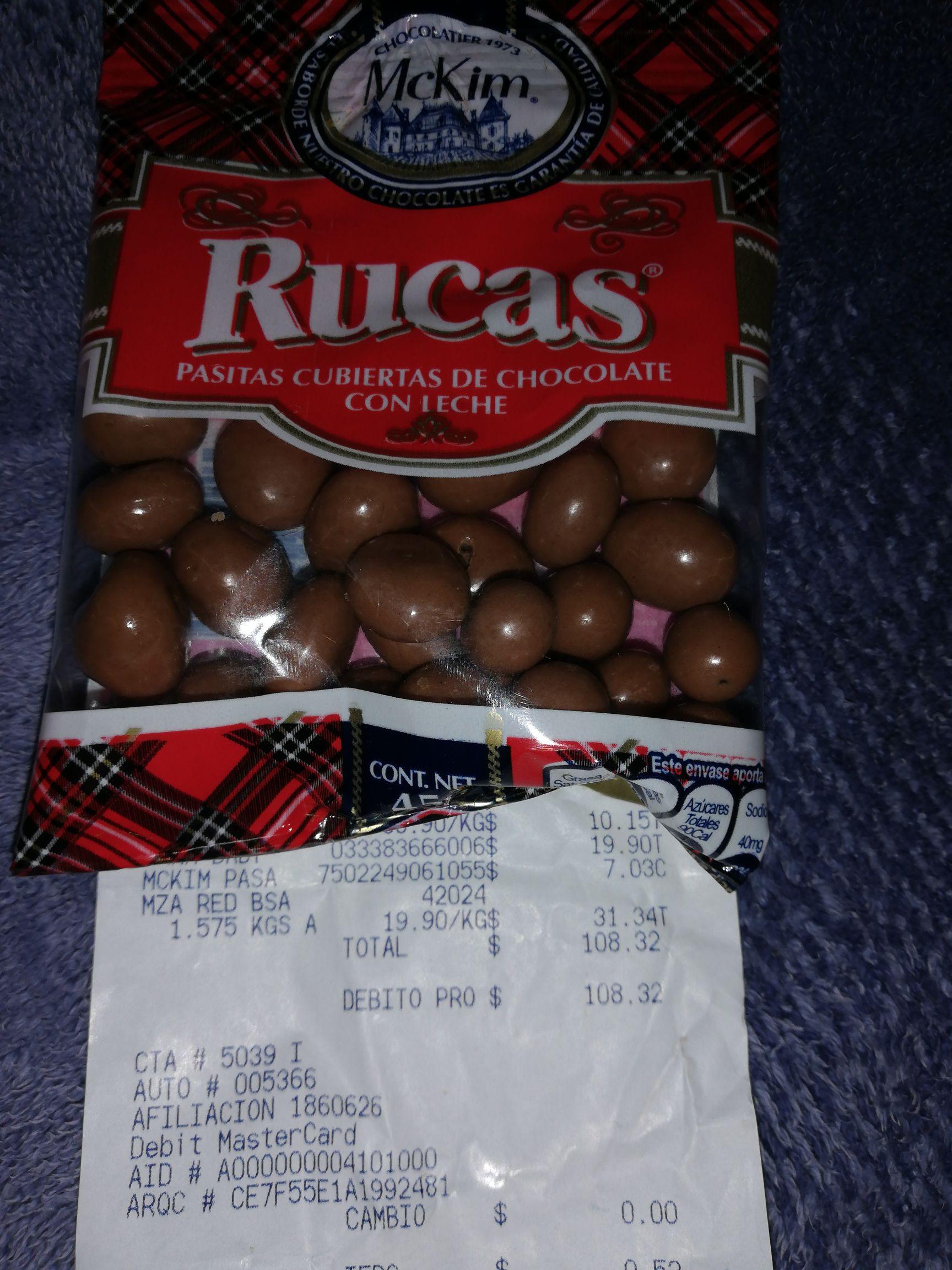 Walmart: Rucas 45g (pasitas cubiertas de chocolate)