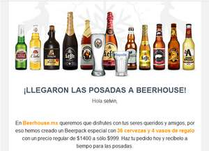 Beerhouse.mx: BeerPack Ultimate Christmas 36 Cervezas + 4 vasos de regalo, regular 1400 promocion 999 (799 con Cupon)