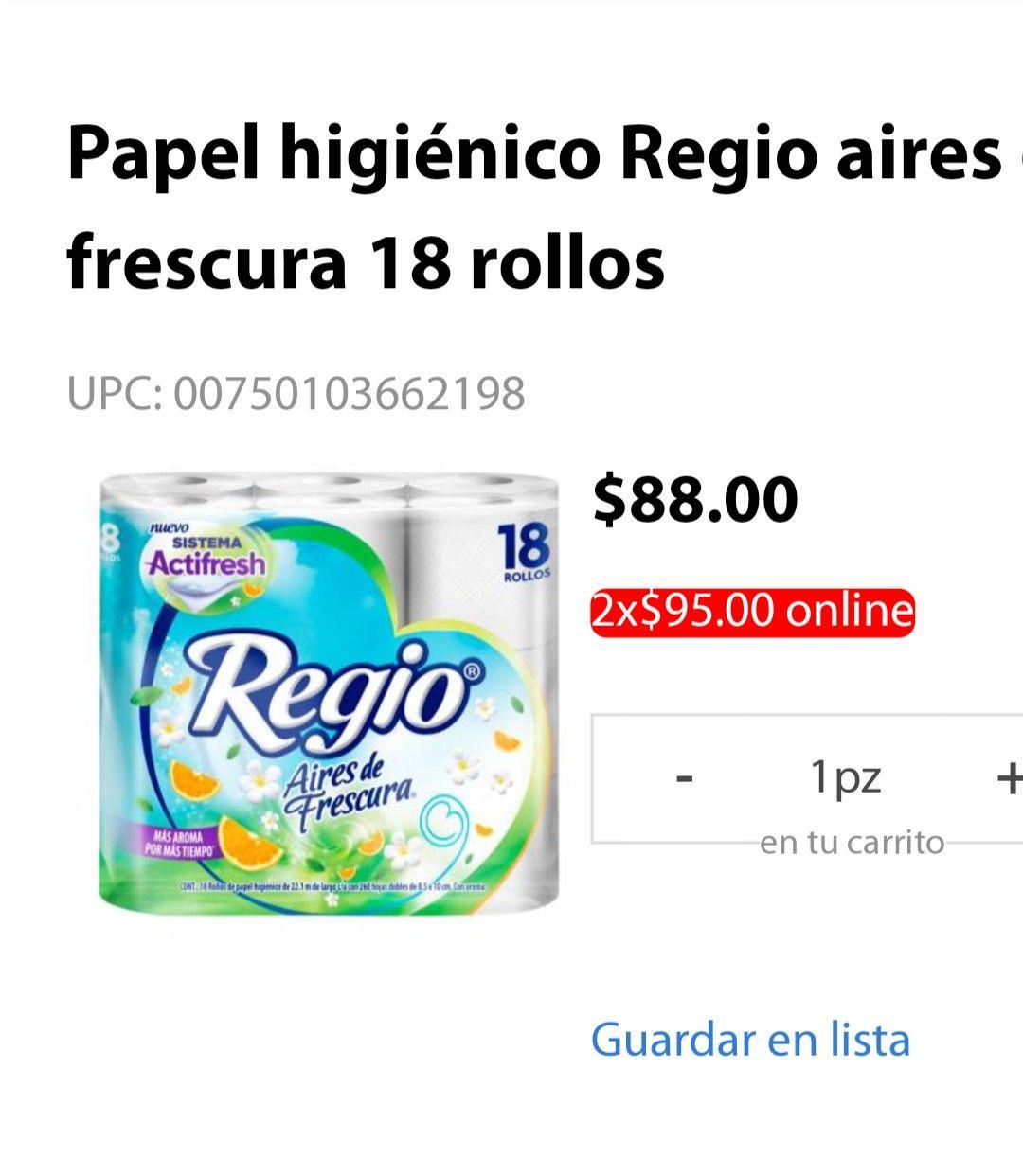 Walmart Súper: Papel higiénico regio aires de frescura. 18 rollos. 2 x 95