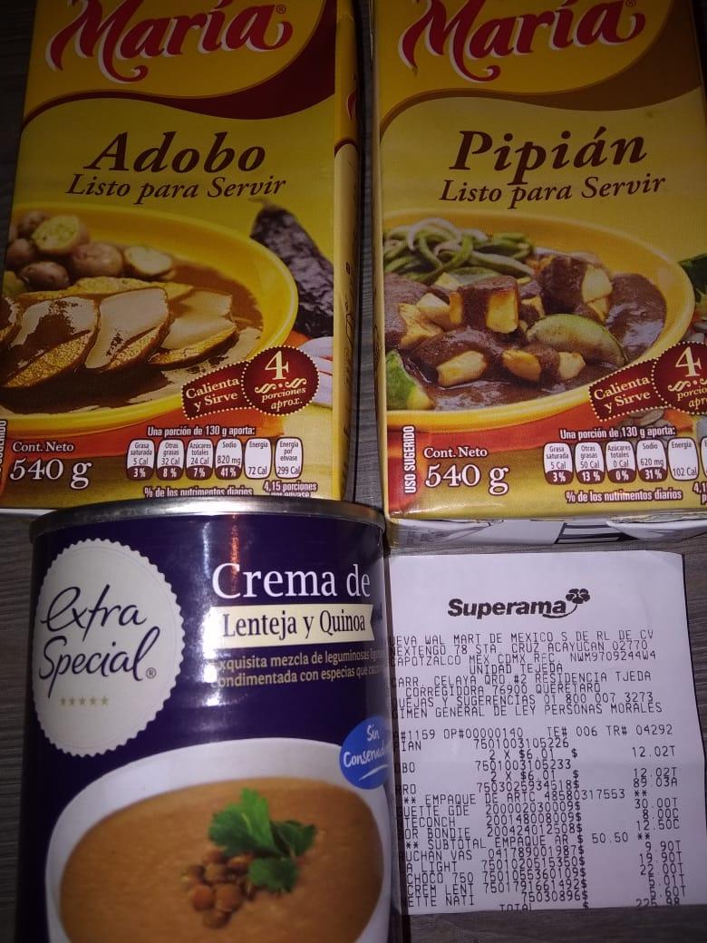 Superama -  Crema de Lentejas $5.01 /  Adobo y Pipan $6.01