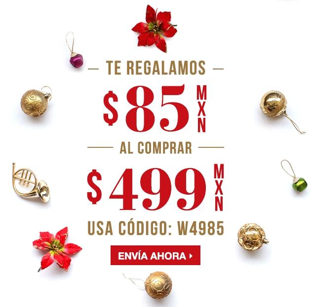 enviaflores.com: cupón de $85 en compras de $499 o más