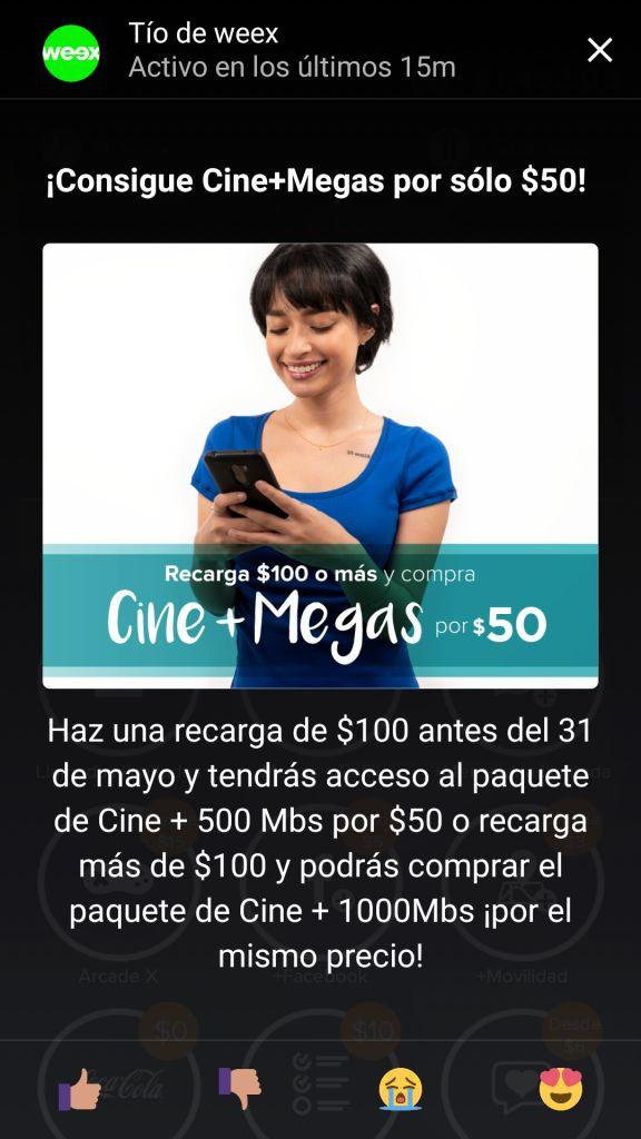 Weex: Cine + 500MB por $50