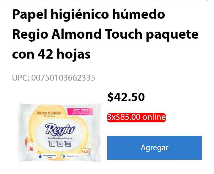 Walmart: Papel Higiénico Regio Humedo (3x$85)