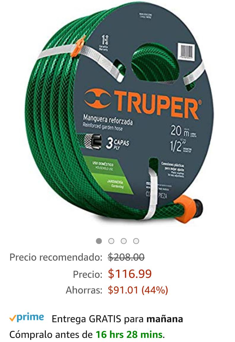 Amazon: Manguera Truper reforzada 3 capas 1/2 con conexiones, 20 metros
