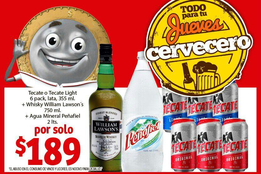 Soriana Mercado y Express: Jueves Cervecero 2 Mayo: Six Tecate lata + William Lawson's 750 ml + Peñafiel 2 L $189