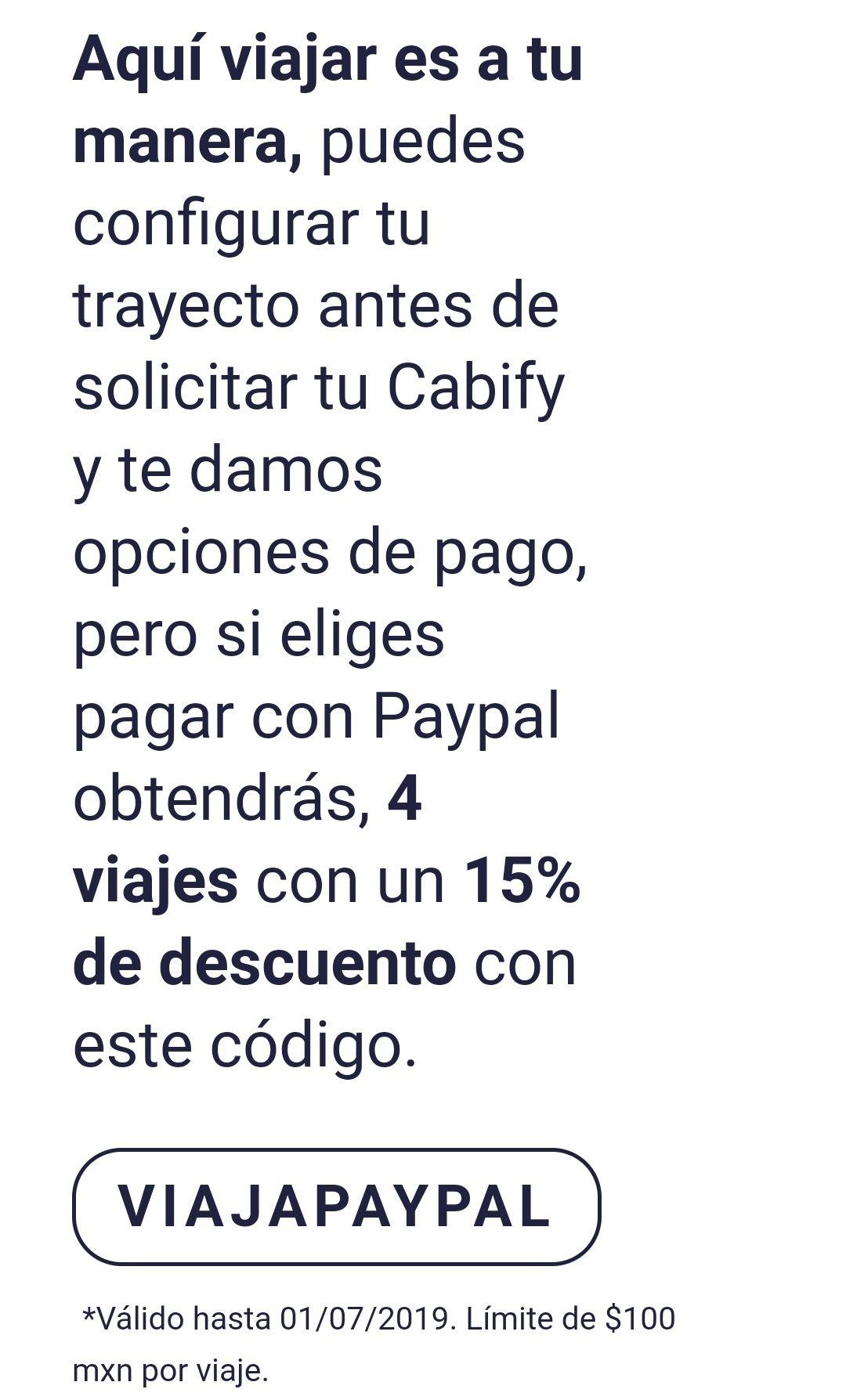 Cabify: Descuento para 4 viajes 15%  todos usuarios