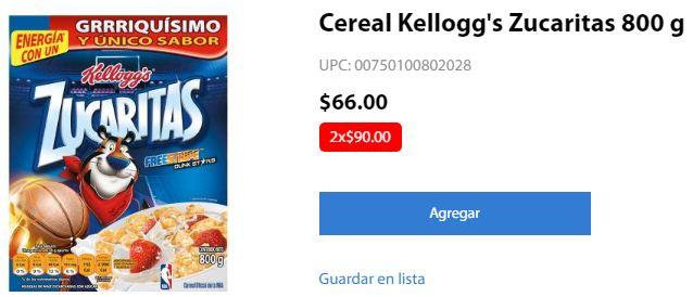 Walmart Super Zucaritas 800 g 2 x $90 (Mas cereales a buen precio)