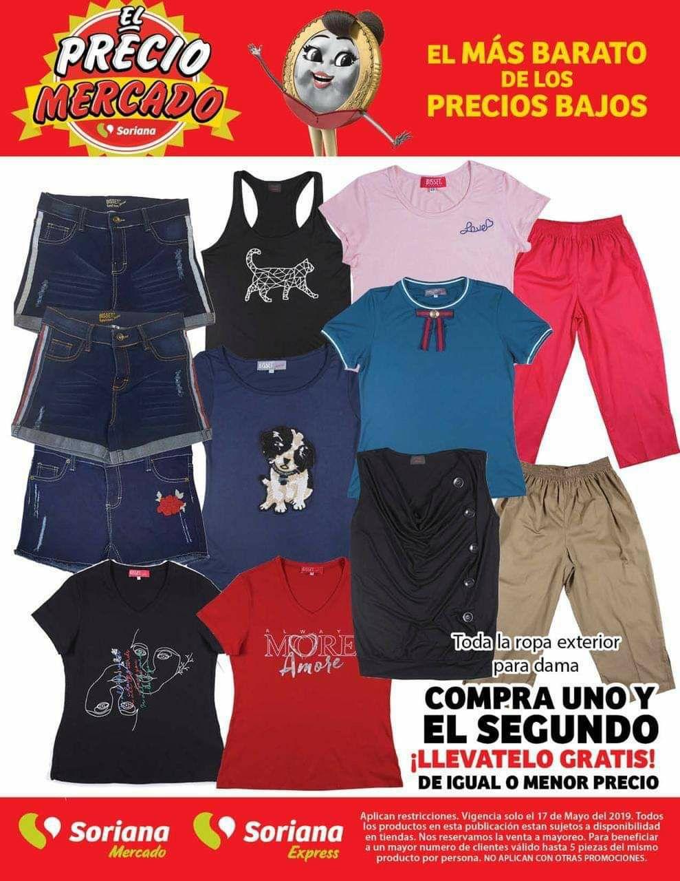 Soriana Mercado y Express: 2x1 en toda la ropa exterior para dama solo 17 de Mayo