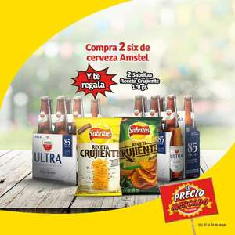 Soriana Mercado y Express: Compra 2 Six de cerveza Amstel y te regalan 2 Sabritas Receta Crujiente 170 g.