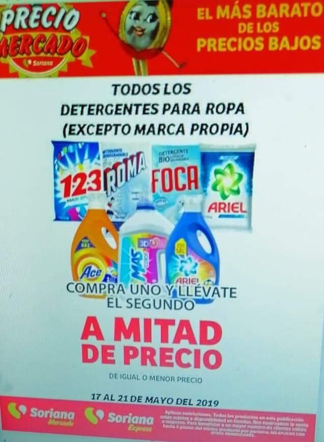 Soriana Mercado y Express: 2x1 1/2 en Todos los Detergentes para Ropa al 21 de Mayo 2019