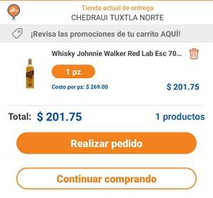 Chedraui: Whisky Johnnie Walker Red Label 700ml + 25%