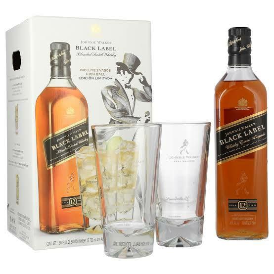 Chedraui: Whisky Johnnie Walker Black Label 750ml + 2 Vasos de Lujo + 25%