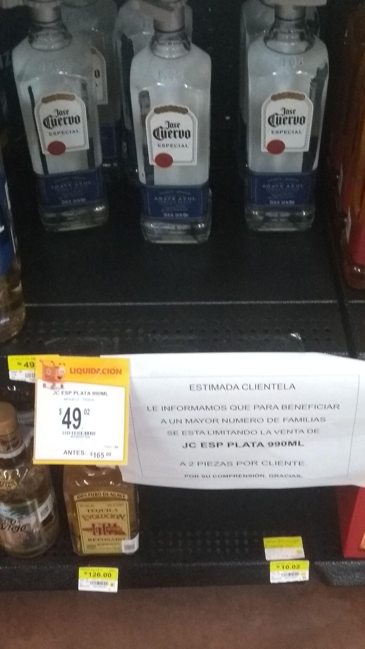 Walmart Poza Rica tequila José Cuervo de 990 ml