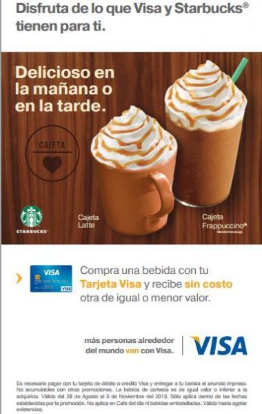 Starbucks: 2x1 en todas las bebidas pagando con VISA