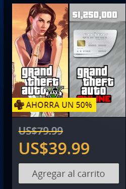 PlayStation Store: GTAV + Tarjeta de dinero gran tiburón blanco 39dls para usuarios Plus