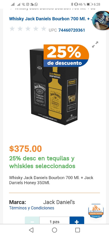 Chedraui en línea: Jack Daniels Bourbon 700 ML + Tenesse Honey 350 ml