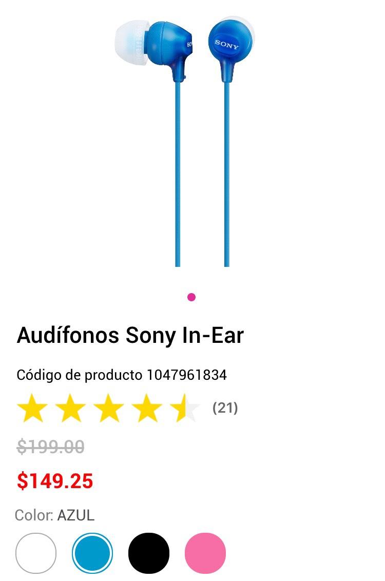 Liverpool en línea: Audífonos Sony In-Ear Varios COLORES