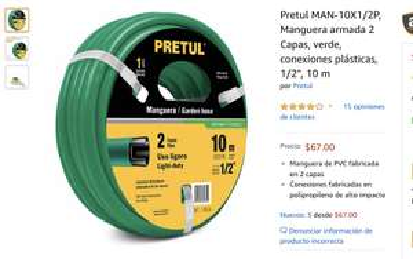 """Amazon MX: Pretul MAN-10X1/2P, Manguera armada 2 Capas, verde, conexiones plásticas, 1/2"""", 10 m"""
