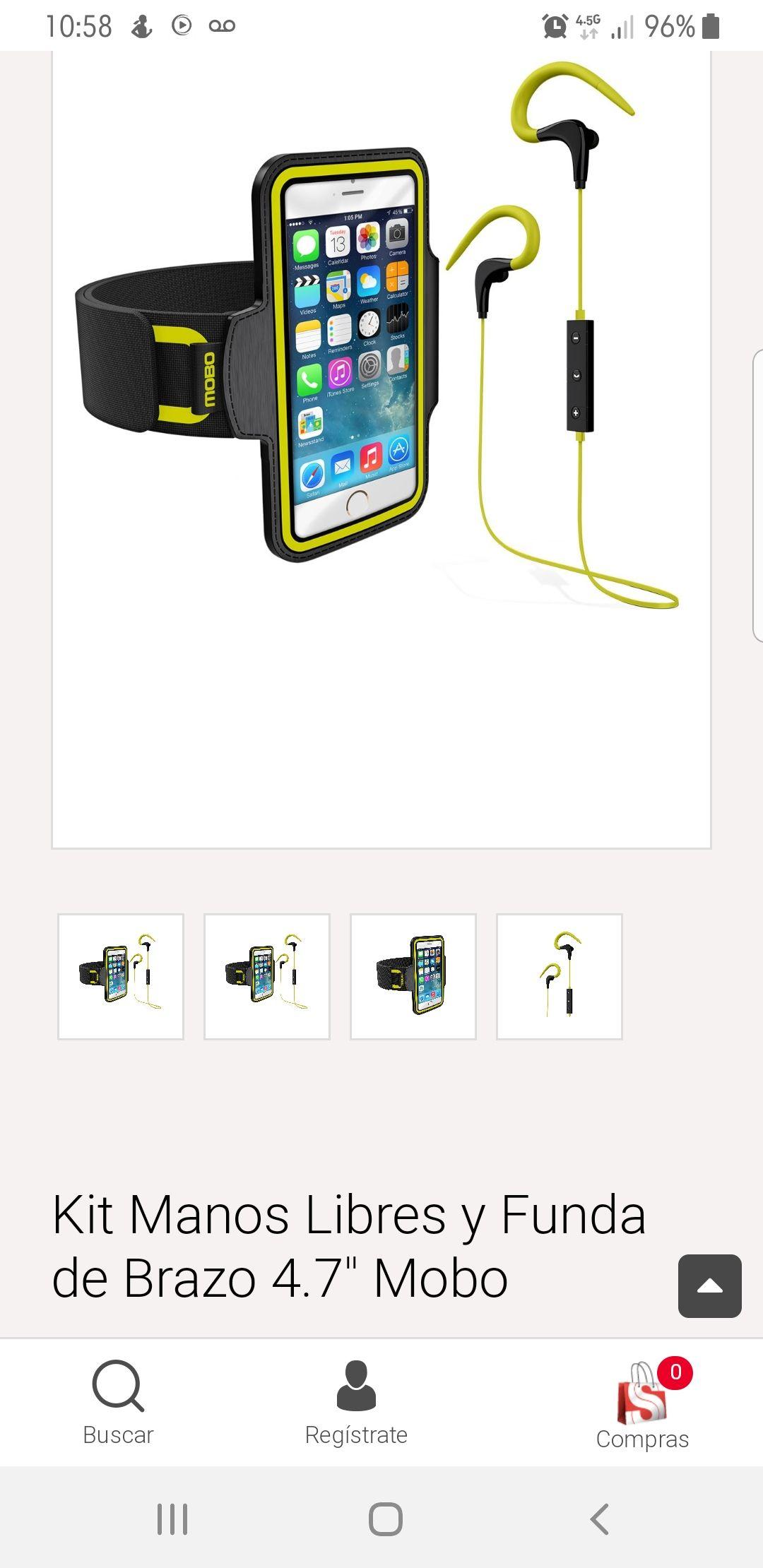 """Sears: Kit Manos Libres bluetooth y Funda de Brazo 4.7"""" Mobo de $499 a $205"""