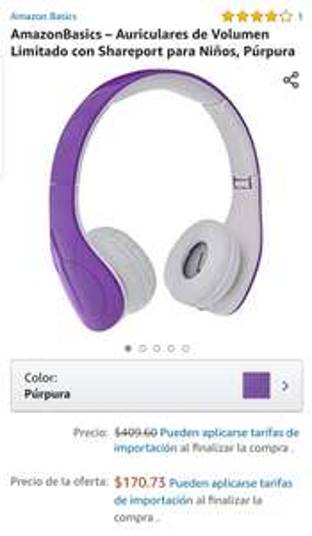 Amazon: Auriculares de Volumen Limitado con shareport para niños