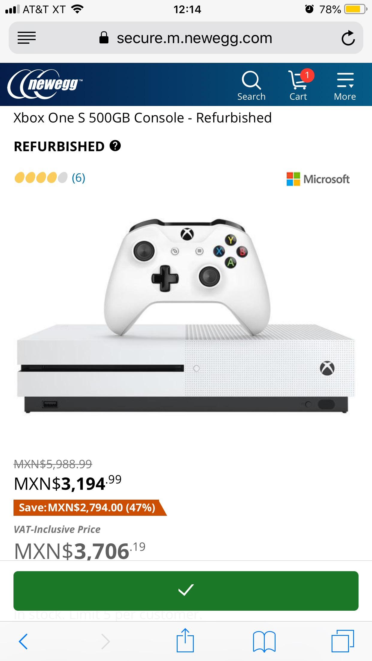 Newegg: Xbox One S 500gb reconstruido