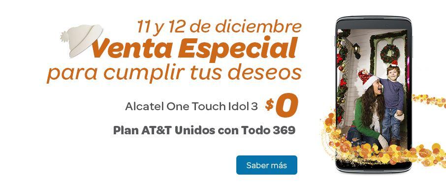 Iusacell AT&T: Venta especial 11 y 12 de Dic. Alcatel Idol 3 Gratis en plan Unidos con todo $369