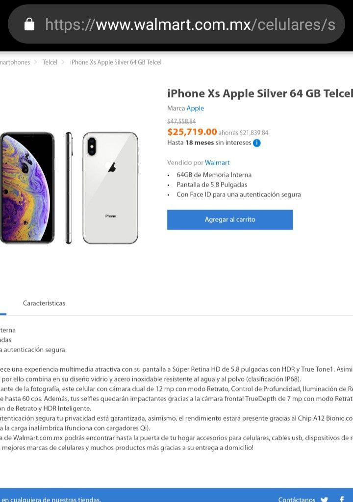 Walmart en línea: iPhone XS Silver de 64 GB