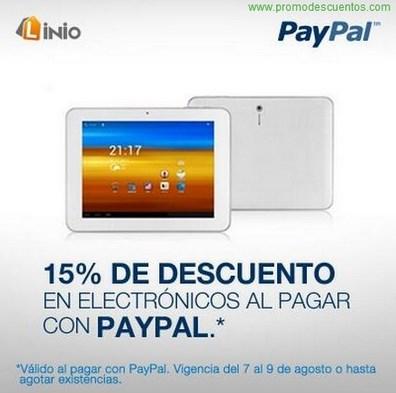 Linio: 15% de descuento en electrónica pagando con PayPal
