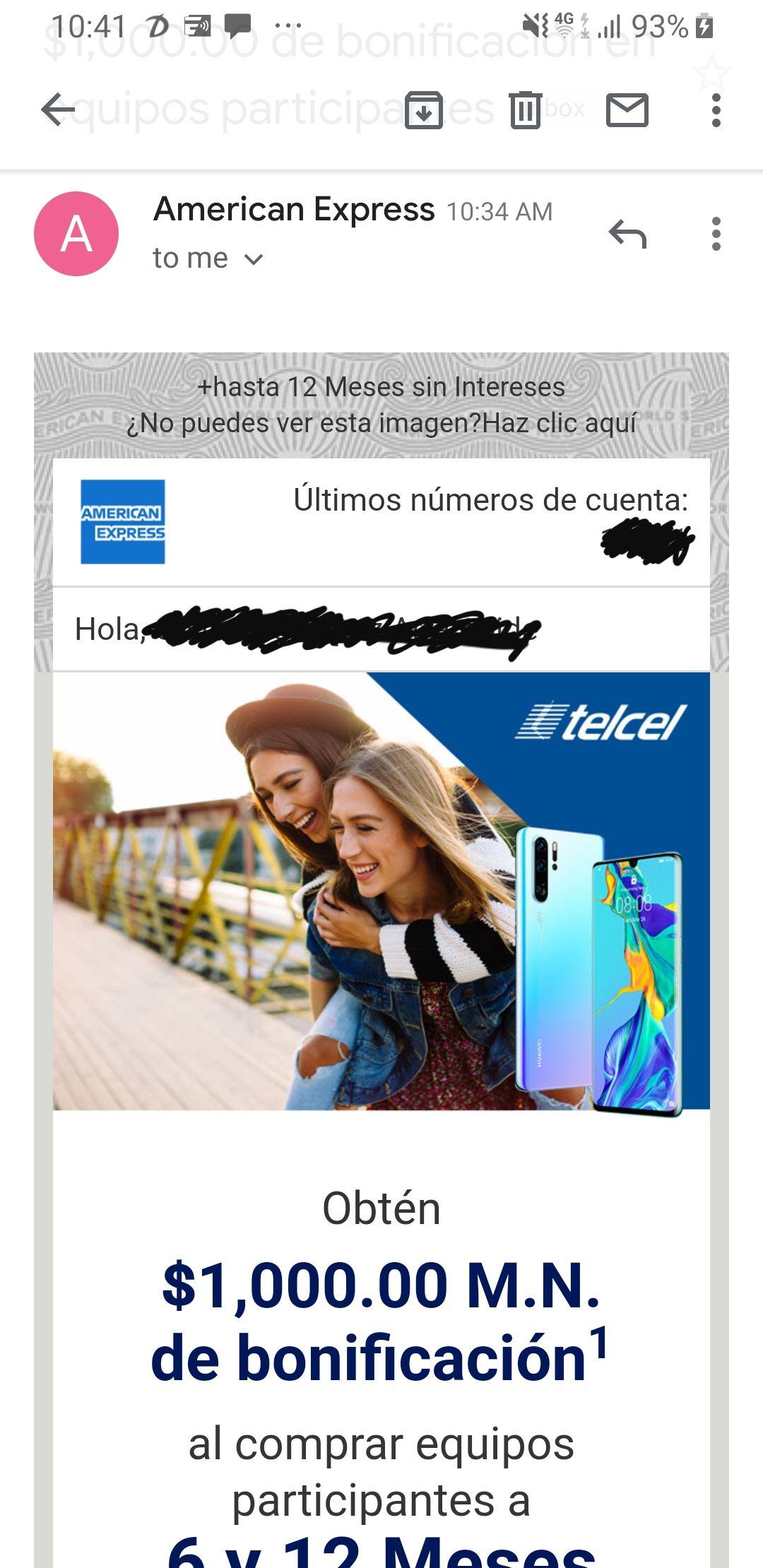 $1,000 de bonificación y 6 o 12 MSI en celulares Huawei con Telcel (pagando con American Express)