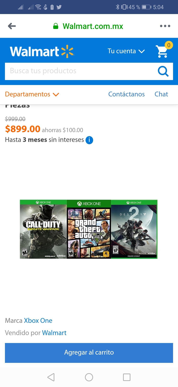 Walmart en línea: Pack 3 juegos - GTA V, Infinite Warfare y Destiny 2 para Xbox One