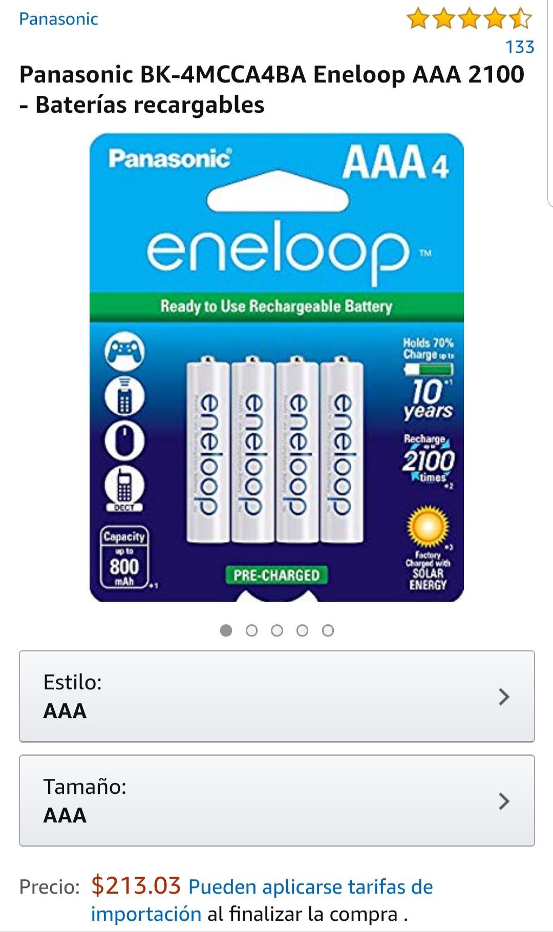 Amazon MX: Baterías recargables Panasonic BK-4MCCA4BA Eneloop AAA 2100, paquete de 4 baterías (Vendido por Amazon USA)