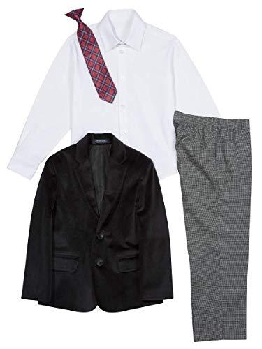 Amazon Nautica Littleboys - Conjunto de Traje para niño con Chamarra, pantalón, Camisa, y Corbata sólo talla 4