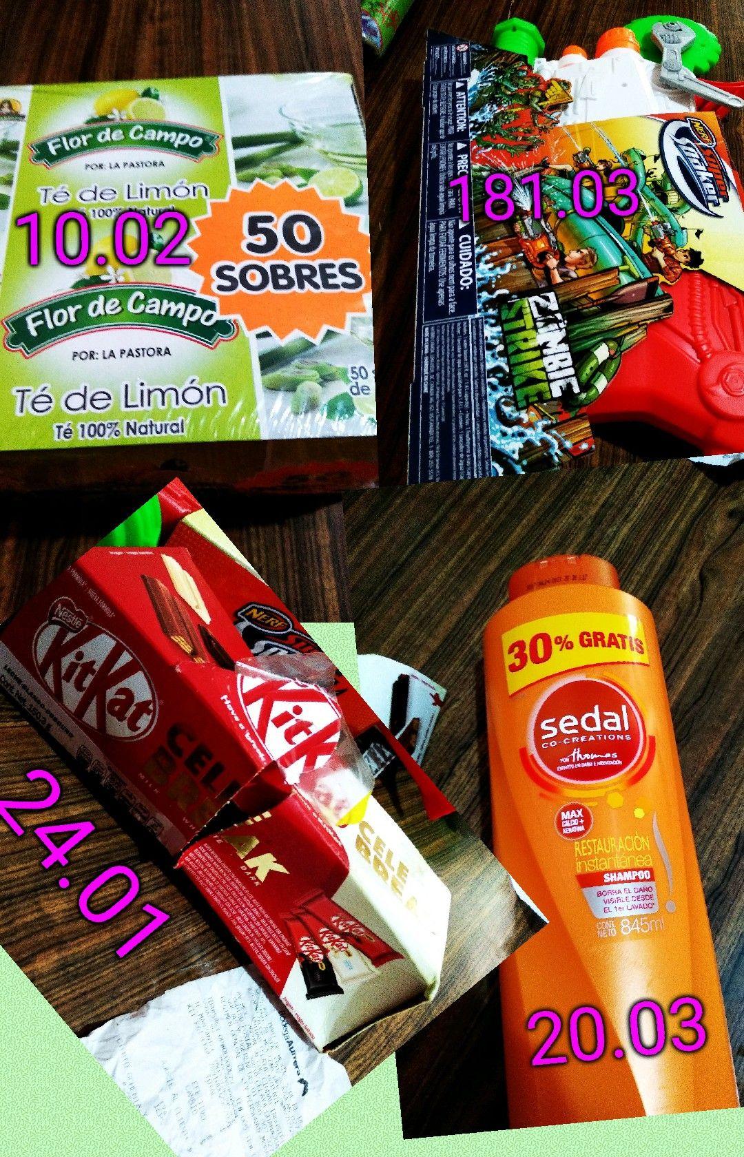 Bodega Aurrerá:  chocolate Kit Kat, shampoo sedal , need super soaker y té