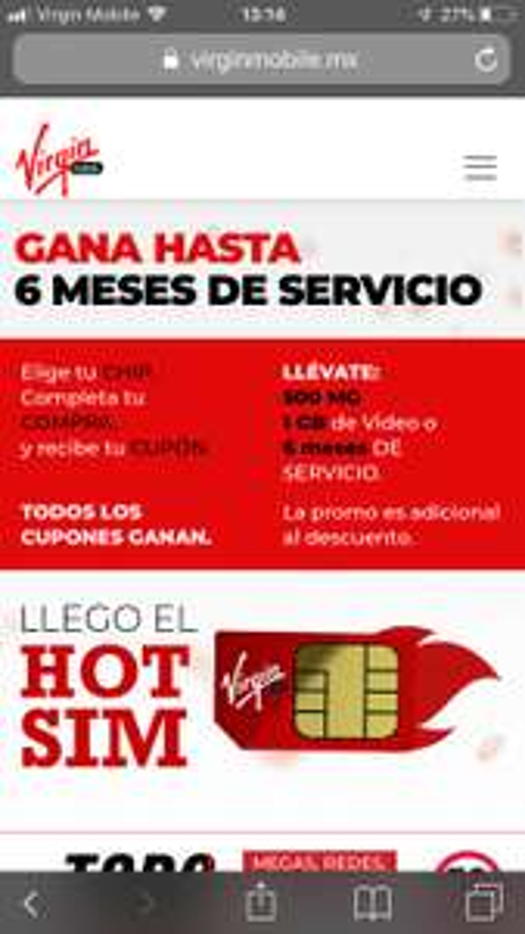 Ofertas Hot Sale 2019: Virgin Mobile hot sim