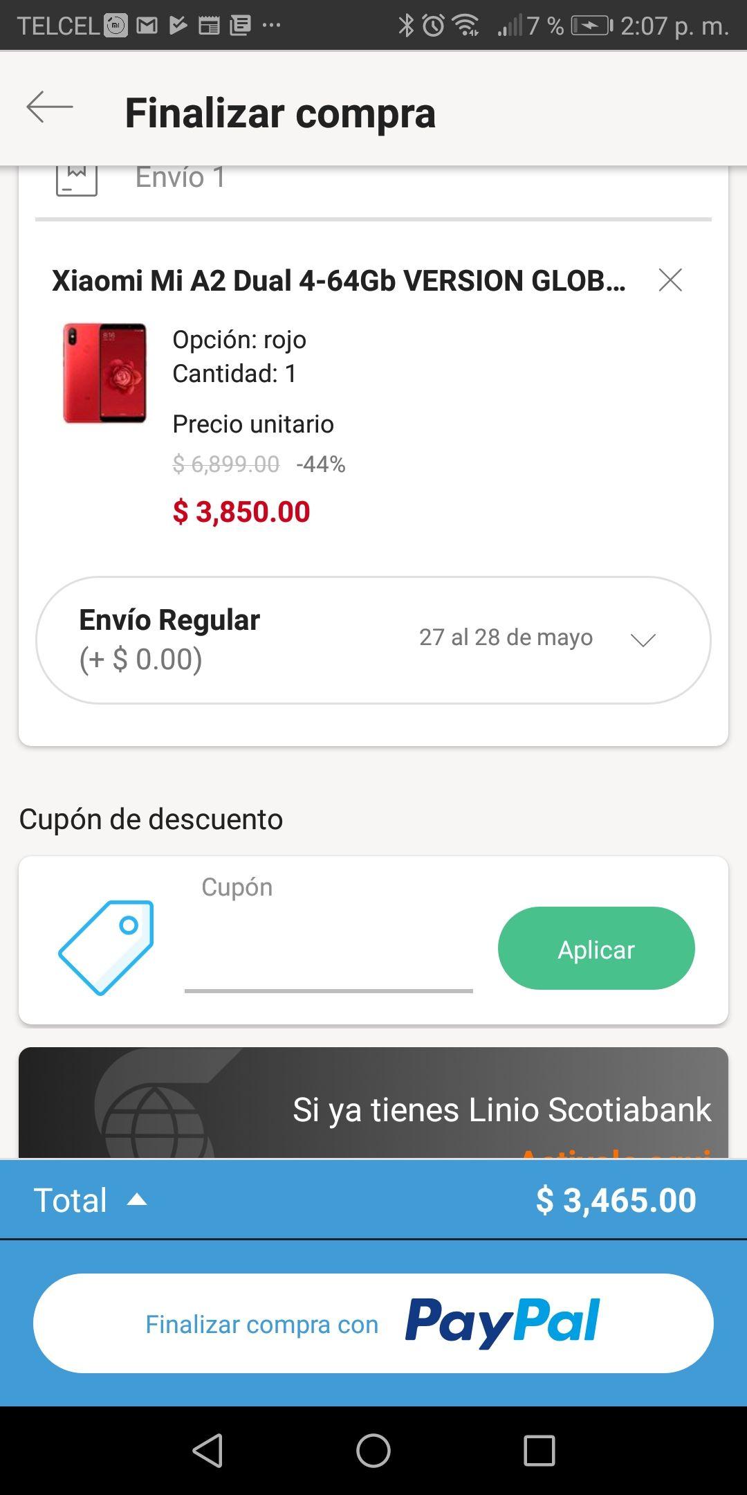 Pre Ofertas Hot Sale 2019 Linio: xiaomi mi a2 rojo 64+4 GB con PayPal