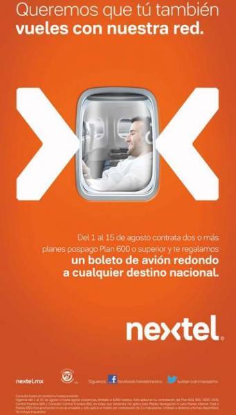 Nextel: boleto de avión redondo gratis contratando dos planes de $600 o más