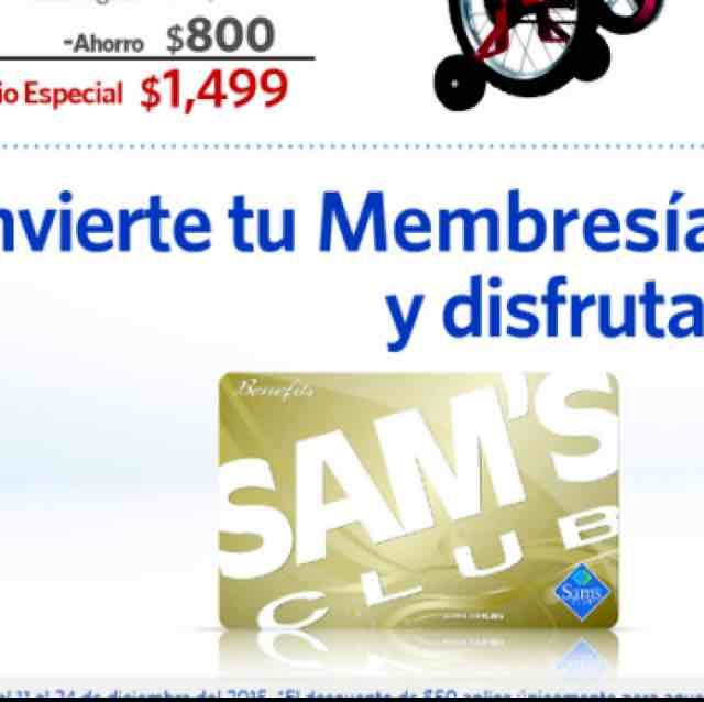 Sam's Club: 50% de descuento al convertir a membresía benefits (11-24/Dic) y Rebajas en bicicletas de Star Wars (24/Dic)