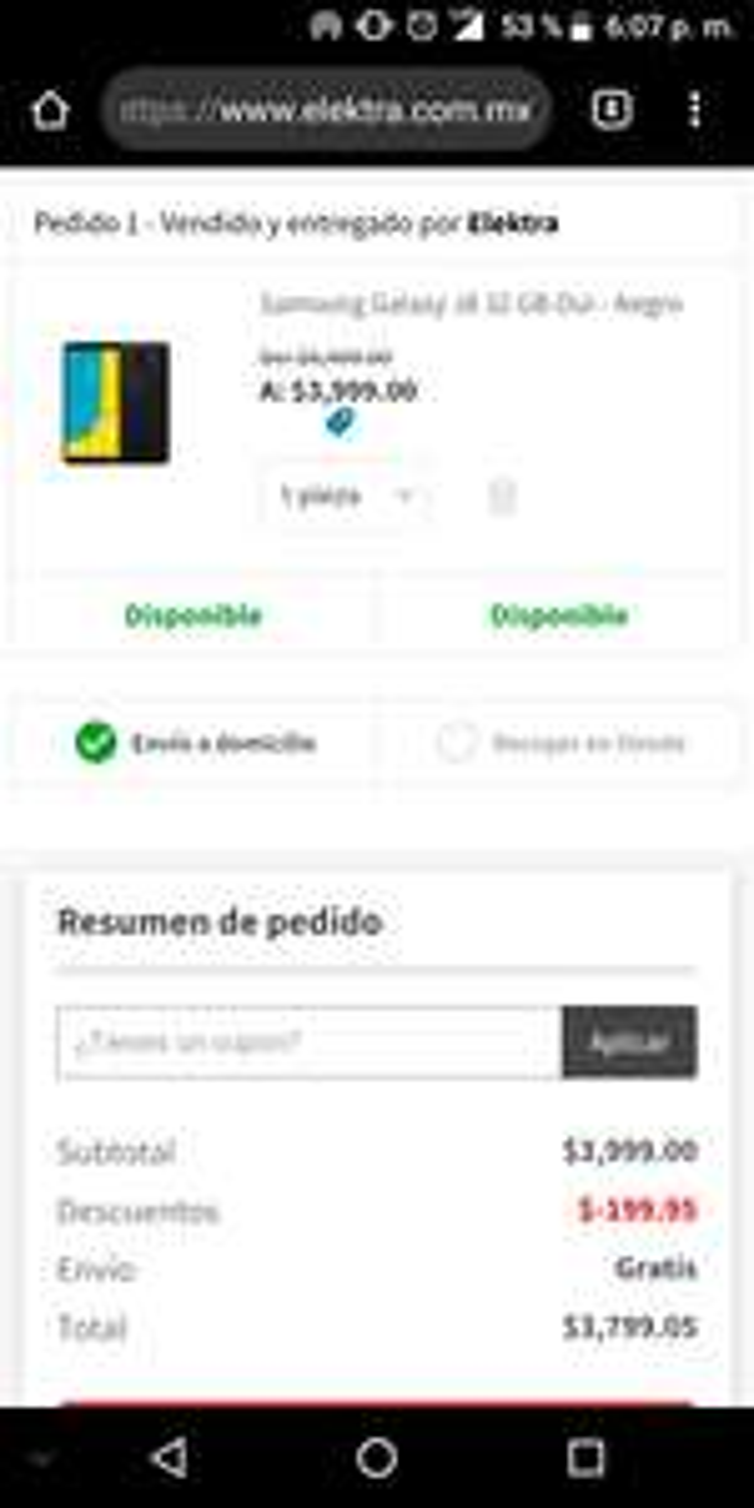 Elektra: Samsung Galaxy J8 oferta relámpago (pagando con Banamex)