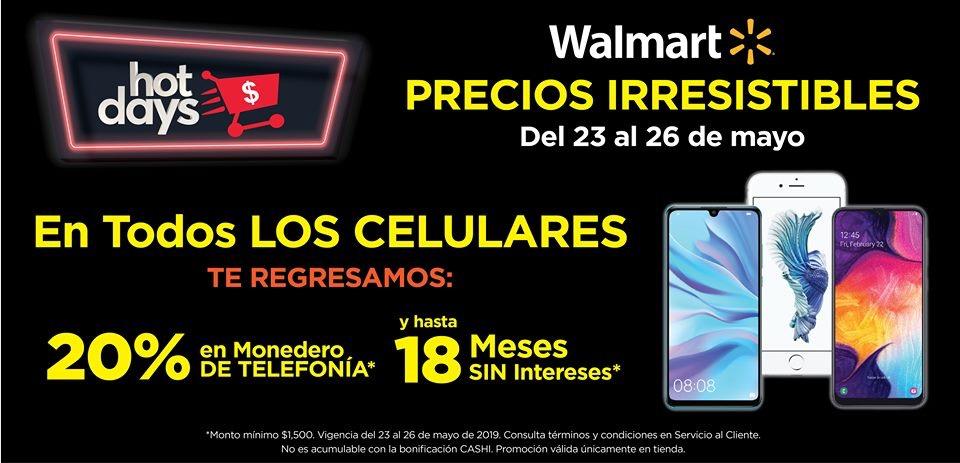Hot Days en Walmart: 20% en monedero en todos los celulares (acumulable con Bancomer e Inbursa)