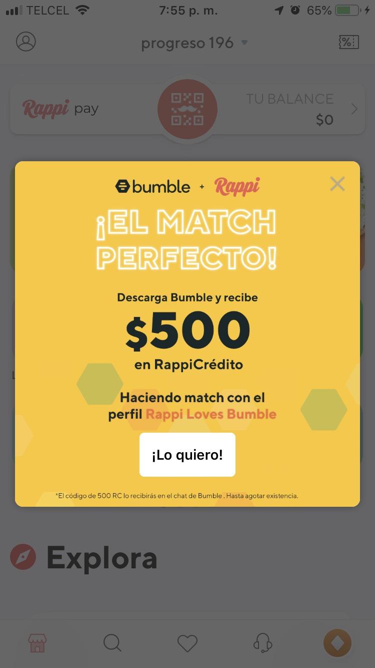 Rappi y Bumble: $500 al hacer match